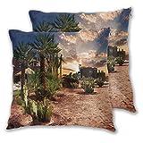 FULIYA Majestic - Funda de cojín decorativa, diseño de palmeras y cactus en Oasis Marruecos tropical, apto para cama completa, color amarillo