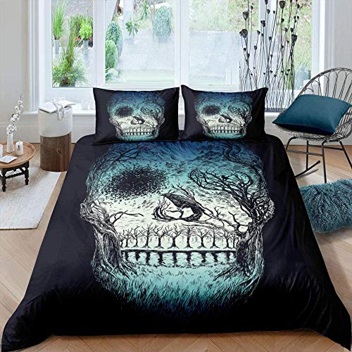 Msortatnl Halloween Vintage Black Skull - Quilt Duvet Cover Set Easy Care Anti-Allergic Soft & Smooth With Pillow Cases Single (135 X 200 Cm)