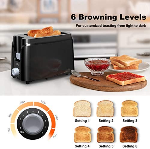 Willz 2-Slice Extra Wide Slot Toaster with Shade Selector, Auto Shut-off and Cancel Functions, Hinged Crumb Tray, Black Salted Salad