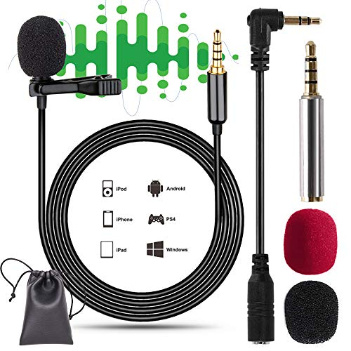 Microfono de Solapa para Movil Android iPhone NOCHME 3,5 mm Jack Corbata Pinza Condensador Profesional Micrófono con Parabrisas y PU Bolsas para Smartphone PC iPad Mac Cámara Grabar Canto, Negro