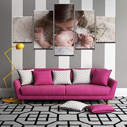 Gbwzz 5 stuks schilderijen op canvas Prinposter Home Decor wand 5 stuks mooi klein canvas Little Girls baby en foto's Frame 30x40 30x60 30x80cm