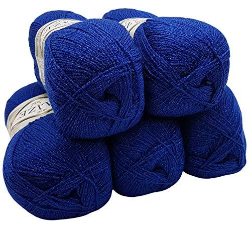 Alize 5 x 100 g Glitzerwolle SAL zum Stricken und Häkeln, 500 Gramm Metallic – Wolle (royal blau 360)