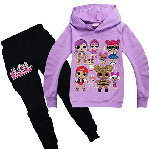Thombase LOL Dolls Cute Print Mädchen Frühling Herbst Trainingsanzüge Hoodie & Hosen Set (lila, 140 (7-8 Jahre))