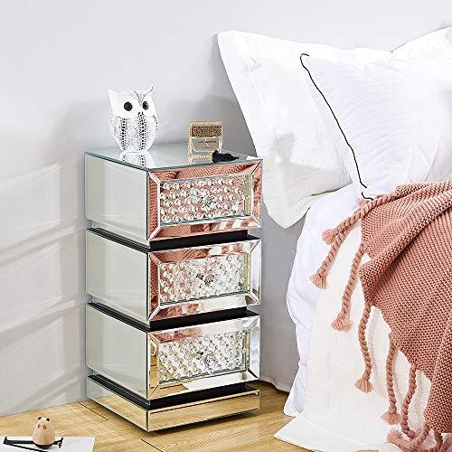 Mesita de noche con espejo, mesita de noche, cómoda de 3 cajones, armario de 3 cajones, mesa auxiliar, armario de almacenamiento, sala de estar y dormitorio (tamaño C)