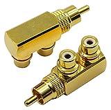 zdyCGTime adattatore sdoppiatore RCA, 90 gradi ad angolo retto da RCA maschio a 2 RCA femmina, connettori placcati in oro M/F (2 pezzi)