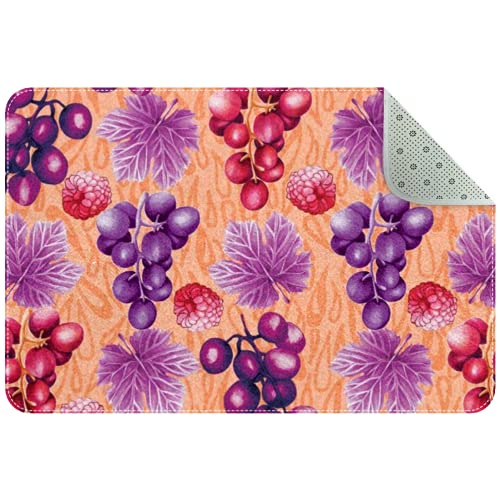 GYGYGY Indoor Doormat - Sponge Rounded Corners Shoes Scraper Rugs for Entrance Bathroom,Grapes And Vine Leaves