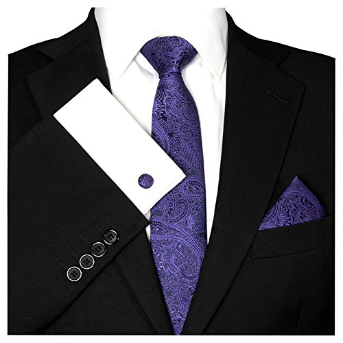 GASSANI GASSANI Herrenkrawatte Schmal Paisley-Muster, Schwarze Violette Hochzeitskrawatte Gemustert, Einstecktuch Manschettenknöpfe Z. Hochzeits-Anzug Sakko