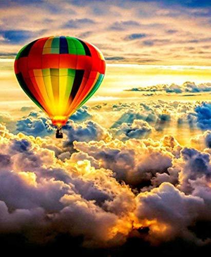 HAON Regenboog hete lucht ballon in de wolken Paint by Numbers Kits voorgedrukt patroon DIY handgemaakte digitale schilderij kleuren 40x50cm frameloze