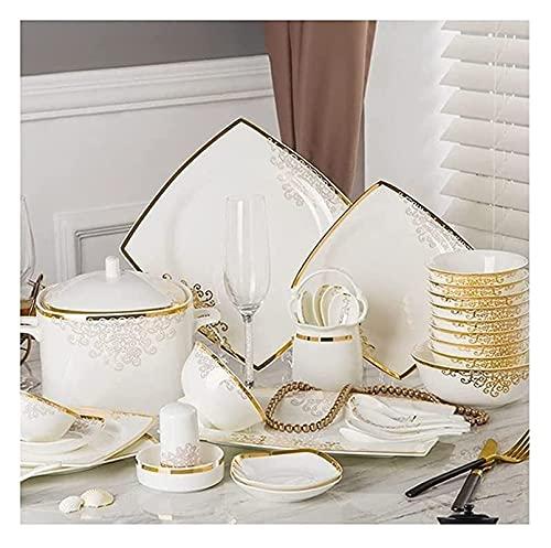 aedouqhr Juegos de vajilla Juego de Platos Juego de vajilla de Porcelana China Fina de Hueso