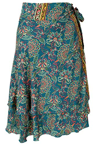 Guru-Shop Kurzer, Wandelbarer Wickelrock, Boho Stufenrock, Magic Dress, Damen, Petrol, Synthetisch, Size:One Size, Röcke/Kurz Alternative Bekleidung