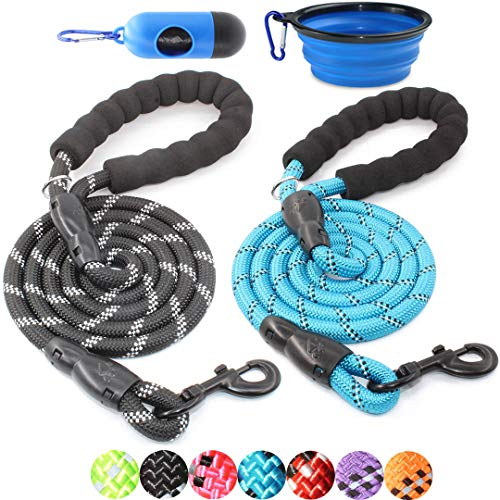 BAAPET 2 Packs 5 FT Strong Dog Leash with Comfortable Padded Handle and Highly Reflective Threads Dog Leashes for Small Medium and Large Dogs (1/2'', Black+Blue)