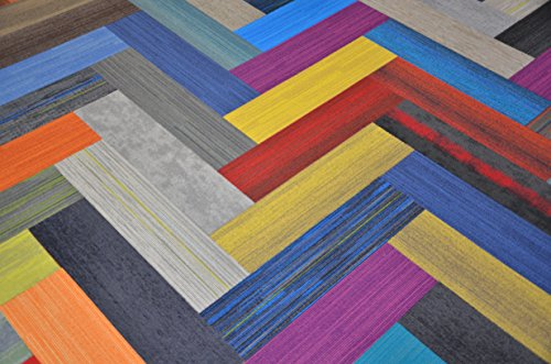 "Dean Affordable 36"" x 9"" Plank Commercial Carpet Tile - Random Assorted Colors - 45 Square Feet (20 Pieces)"