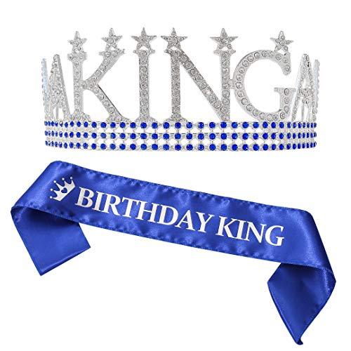 Birthday king sash and King's Crown, Birthday Gifts for Men's Birthday Party (Silver)