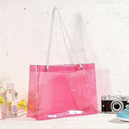 HONGJIU Clear Tote Bags,Portable Beach Bag Waterproof Large Capacity Transparent Bag Crystal Pvc Summer (Color : 1, Size : (30cm(Max Length(50cm))