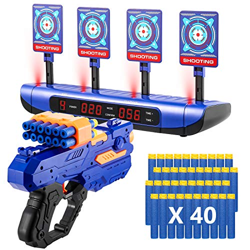 Electric Scoring Auto Reset Shooting Digital Target with Foam Dart Toy Shooting Blaster & 20Pcs Refill Darts, Battle Mode Target for Nerf Guns, Fun Toys for 5,6,7,8,9,10+ Years Old Kids, Boys & Girls