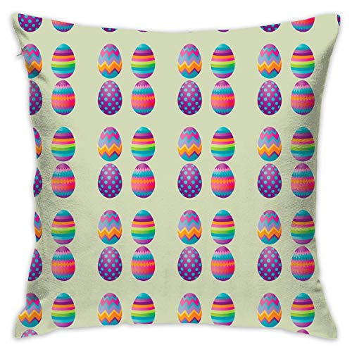 AOOEDM Easter Colorful Eggs Customized Square Woven Decorative Cotton Linen Single Pillowcase Cushion Cover for Sofa Sofa Or Bed Set 18x18 Inches