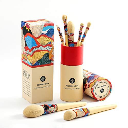 Pennelli per il trucco organizzati in 7 set semplici da usare per la cura del viso e degli occhi con cilindro in cartone ecologico, scatola da 2 tazze per correttore in polvere