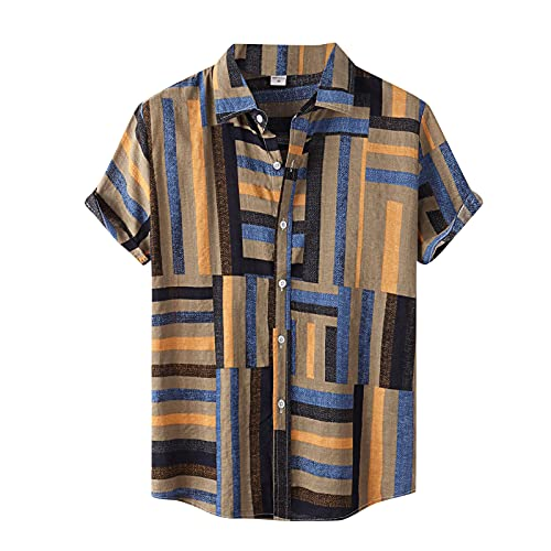 Camisa de manga corta para hombre, de verano, con solapas, con estampado de flores, para el tiempo libre, para la playa G_Khaki XXXL