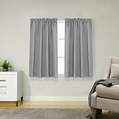 jinchan Waffle Weave Half Window Curtains for Kitchen/Bathroom Window Treatment Tiers Set (72-by-45 Inch Long, Grey, One Pair)