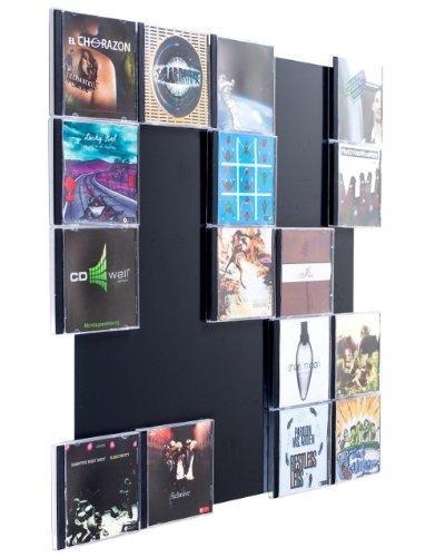 CD-Wall CD-Regal/Farbige Design CD-Wand/CD Wandregal/CD Wandhalter/CD Halter Square 5x5 Farbe: Schwarzgrau für 25CDs zur sichtbaren Präsentation Ihrer Lieblings Cover an der Wand