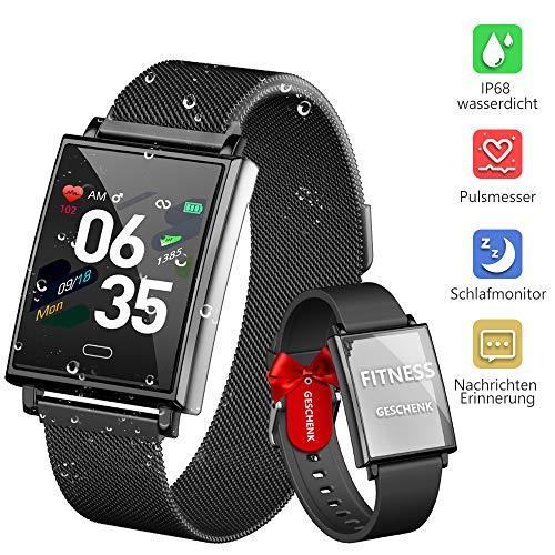 Dwfit Smartwatch, Fitness Uhr mit Pulsmesser Schlafmonitor Wasserdicht Fitness Armband Sportuhr mit Schrittzähler Pulsuhren Stoppuhr für Frauen Männer Kompatibel mit IOS Android (Schwarz)