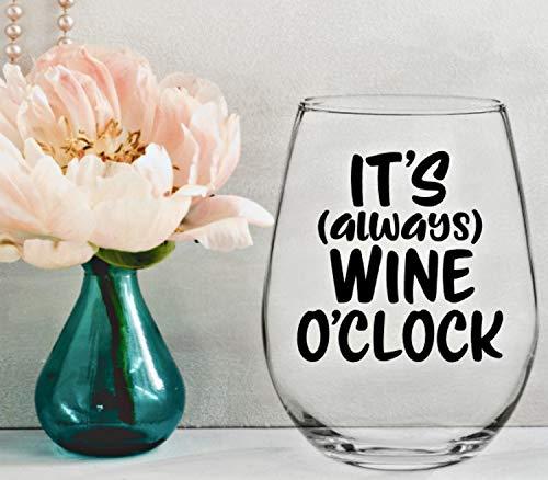 Het is altijd wijn O'clock Vinyl Decal, Wijnsticker, Decal voor Wijnglas, Wijnglazen Decal, Decal voor Tumbler, Wijnglazen Eenvoudig aan te brengen en verwijderbaar
