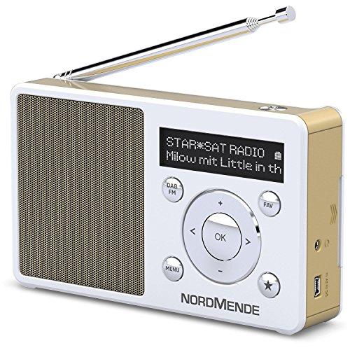 Nordmende Transita 100 tragbares und empfangsstarkes DAB Radio (DAB+, UKW, FM, Lautsprecher, Kopfhörer-Anschluss, Favoritenspeicher, OLED-Display, Akku, klein, tragbar) weiß