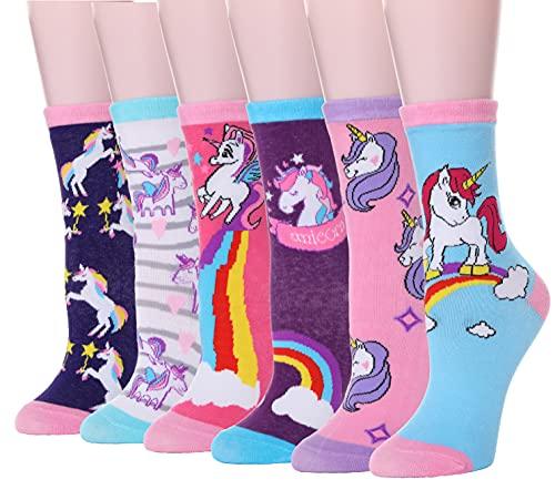 Sandsuced Kinder Lustige Socken für Mädchen Jungen Geschenke Baumwolle Kindersocken Bunte Neuheit Weich Socken 6 Paar(Tierisches Einhorn A,5-8 Jahre
