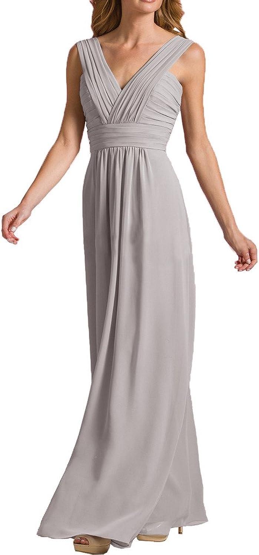 MILANO BRIDE Long Vneck Spaghetti Straps Aline Bridesmaid Dress Prom Gown