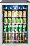 Bomann KSG 7283 Glastürkühlschrank, 115 Liter, LED Innenraumbeleuchtung (separat schaltbar), wechselbarer Türanschlag, Energieeffizient A++, schwarz