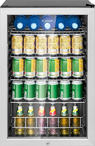 Bomann KSG 7283 Glastürkühlschrank, 115 Liter, LED Innenraumbeleuchtung (separat schaltbar), wechselbarer Türanschlag, Energieeffizient E, schwarz