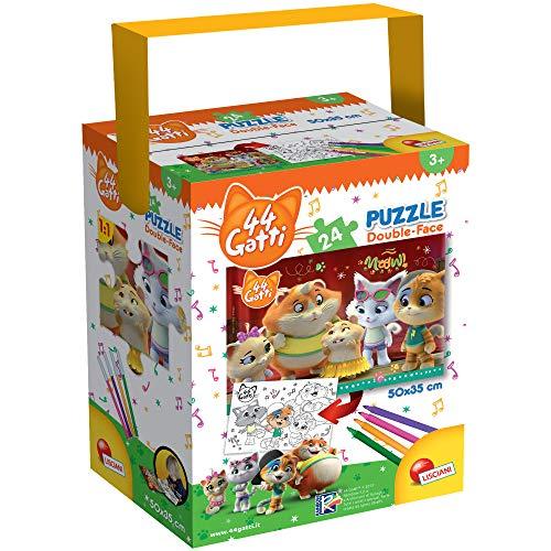 Lisciani - Puzzle in a Tub Doble Cara con Reverso para Colorear 24 Piezas con 4 rotuladores incluidos 44 Gatos - Puzle para niños a partir de 3 años (76253)