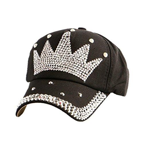 Queenbox Casquette de Baseball Star & Crown & Pentagram Classic Sport Casual Chapeau de Soleil Sun Diamond Couleur Unie Réglable pour Les Enfants Enfants Garçon Fille, Black & Crown 01
