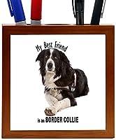 Rikki Knight My Best Friend is a Border Collie B and W Design 5-Inch Tile Wooden Tile Pen Holder (RK-PH44781) [並行輸入品]