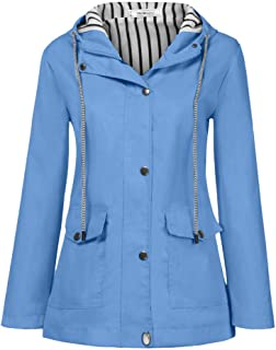 Women Raincoat Windproof, Ladies Solid Long Sleeve Fashion Button Jacket Outdoor Plus Size Waterproof Hooded Coat