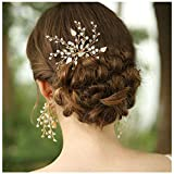 HONEY BEAR donna clip pettine per capelli,gioielli da sposa,accessori per capelli sposa,gioielli a forma di fiore con finte perle e strass (Fiore)