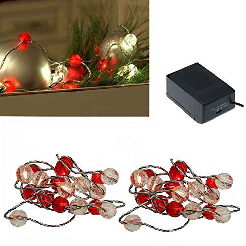 Christmas lights clear and red jewel bead LED battery-opperated, package of 2 light sets. 7' long 18 beads that light up. Each light set takes 6