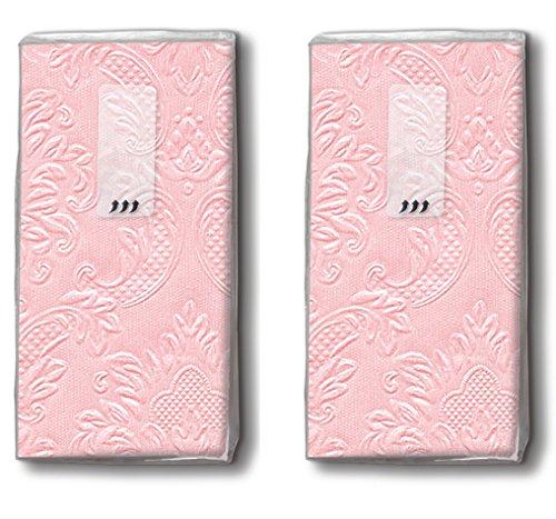20 Taschentücher (2x 10) Taschentücher Moments Ornament soft pink - Uni rose mit Ornamente geprägt/Freudentränen/Hochzeit