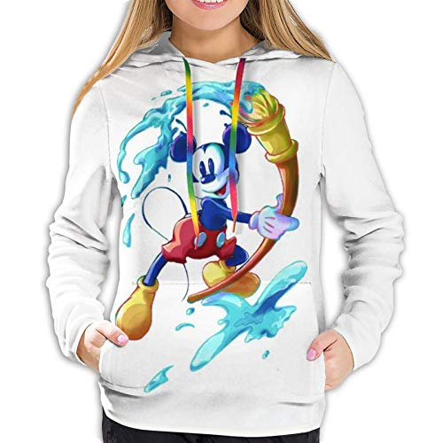 Mickey Minnie Sudadera con capucha para mujer con bolsillo delantero y estampado 3D con cordón para jersey S-XXL