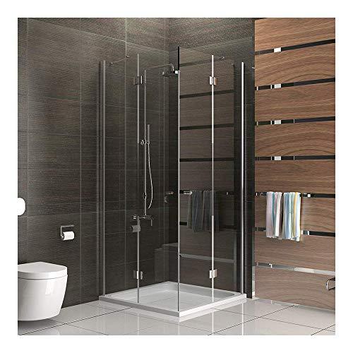 Entrada por la esquina cabina de ducha/marco para cabina de ducha/cabina de ducha 90 x 200 cm aprox/cuadro gimnasio ducha/alpen Berger/modelo Quadri Clear/cabina de ducha de vidrio con juego de accesorios