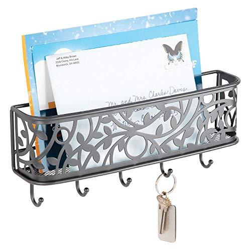 mDesign Portachiavi multiuso in metallo – Elegante porta chiavi da parete ideale per l'ingresso – Portachiavi da appendere al muro con vaschetta portacorrispondenza e 5 ganci – grigio