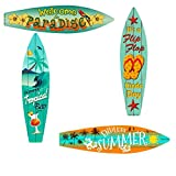 Bundle: Home Decor Metal Surfboard Beach Signs - Welcome to Paradise Sign, Endless