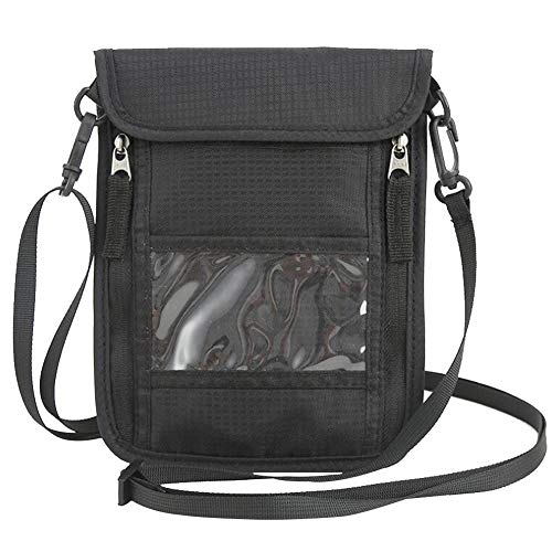 Brustbeutel, Brusttasche für Damen und Herren, Wasserfestes Umhängeband, RFID Diebstahlschutz wasserabweisend für Dienstreise (Schwarz)