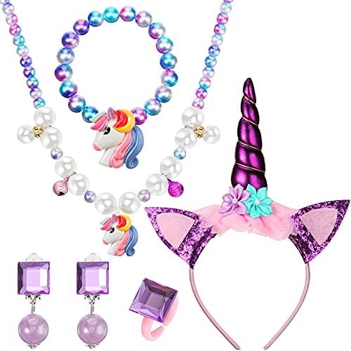 Set de Pulsera Collar de Unicornio Kit de Joyería de Unicornio Incluye Pendientes Diadema Anillo Pulsera Collar de Unicornio con Bolsa de Organza para Fiesta Unicornio Cumpleaños (Púrpura)