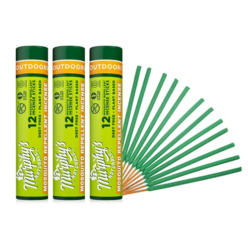 Murphy's Naturals Mosquito Repellent Incense Sticks | DEET Free with Plant Based Essential Oils | 2.5 Hour Protection | 12 Sticks per Tube | 3 Pack
