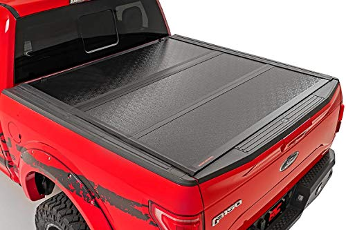 Rough Country Low Profile Hard Tri-Fold (fits) 2015-2020 F150 | 5.5 FT Bed | Folding Truck Tonneau Cover | 47220550