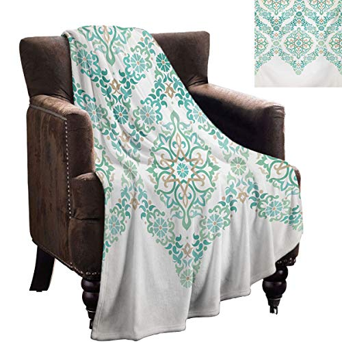 LanQiao Traditional Chunky Knit Blanket Retro Middle Age Symmetrical Traditional Gothic Garland Forms in Pastel Print Super Plush Blanket 60'x36' Green Tan