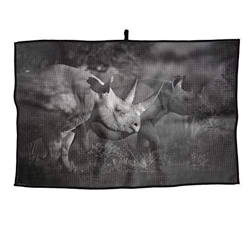TDynasty Black Rhino Feeding with a Big Horn Golf Towel Microfiber Waffle Pattern Club Groove Cleaner Golf Gifts