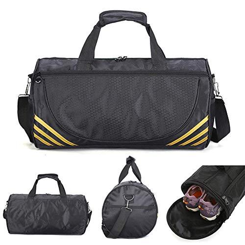 AOSRI Borsa da Palestra Sportiva, 35L Sport Gym Bag Sport Training Bag Borsa da Palestra Fitness Donna degli Uomini Durable Multifunzione Borsa Esterna Tote Black Gold Stripes
