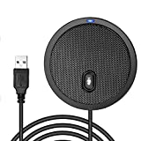 USB Conference Microphone for Computer, 360° Omnidirectional Condenser PC Microphones with Mute, Plug & Play Compatible with Mac OS X Windows for Video Meeting,Gaming,Chatting,Skype,VoIP Calls